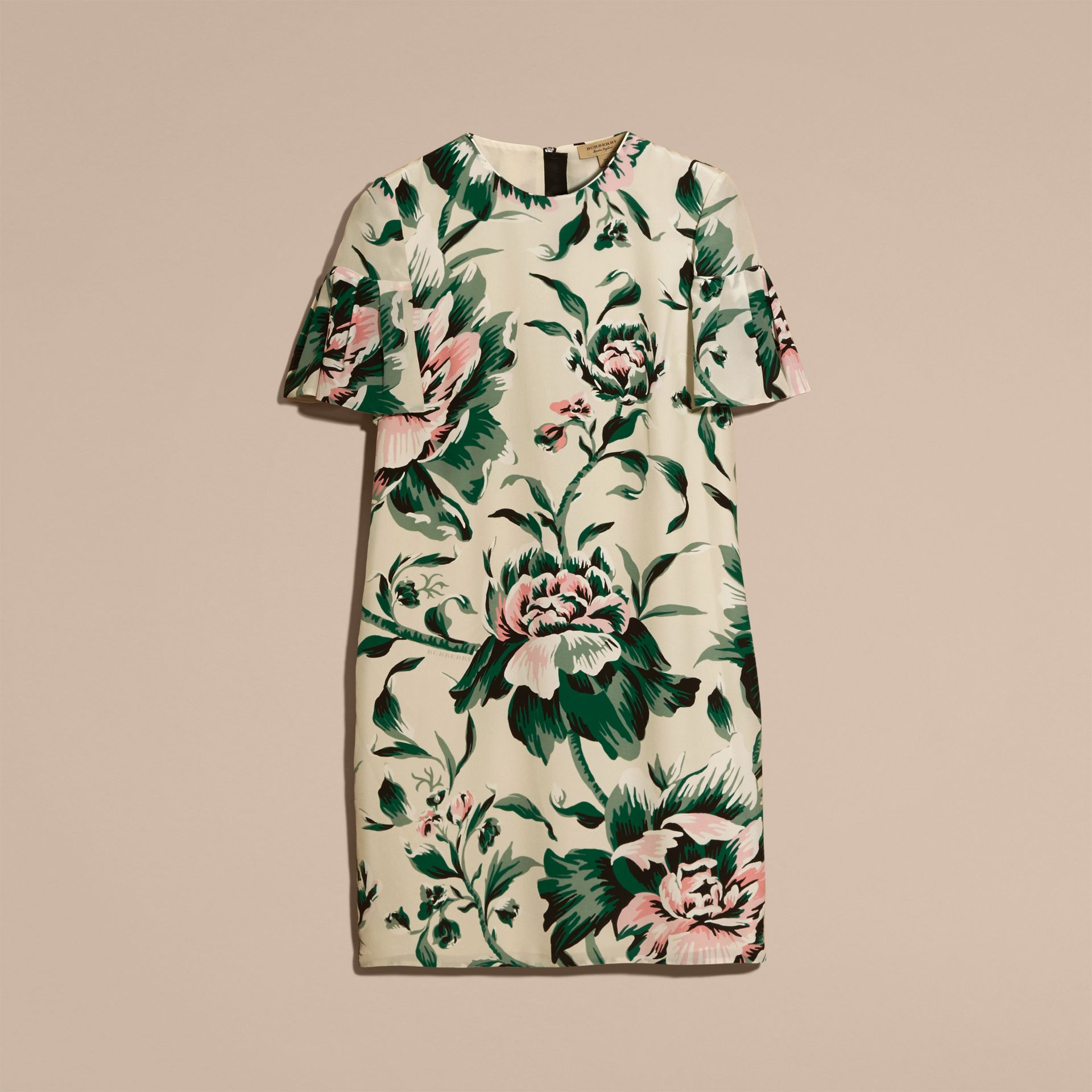 Emerald green Peony Rose Silk Shift Dress with Ruffle Sleeves Emerald Green - gallery image 4