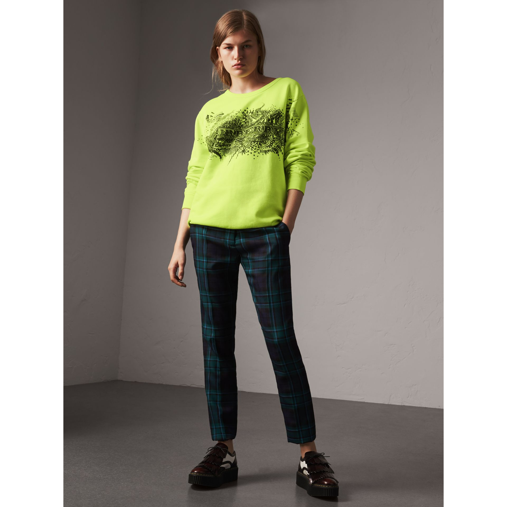 Doodle Print Cotton Sweatshirt in Bright Lemon - Women | Burberry - gallery image 0