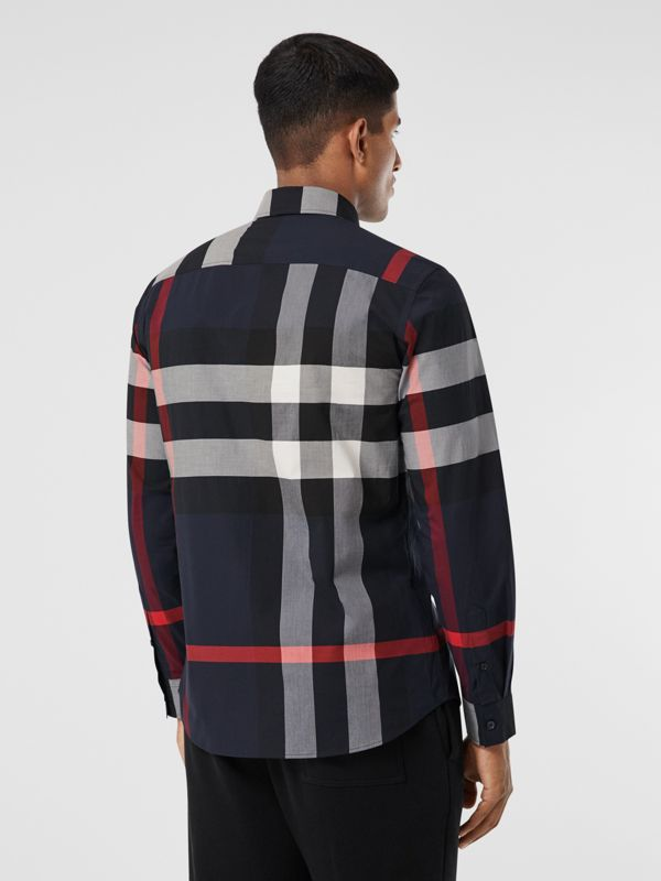 Check Stretch Cotton Poplin Shirt in Navy - Men | Burberry United Kingdom - cell image 2