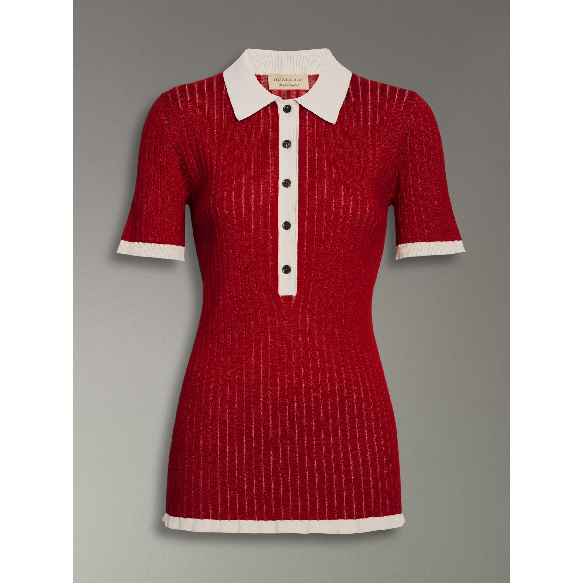 Two-tone Cashmere Silk Polo Shirt in Military Red - Women | Burberry United Kingdom - gallery image 3