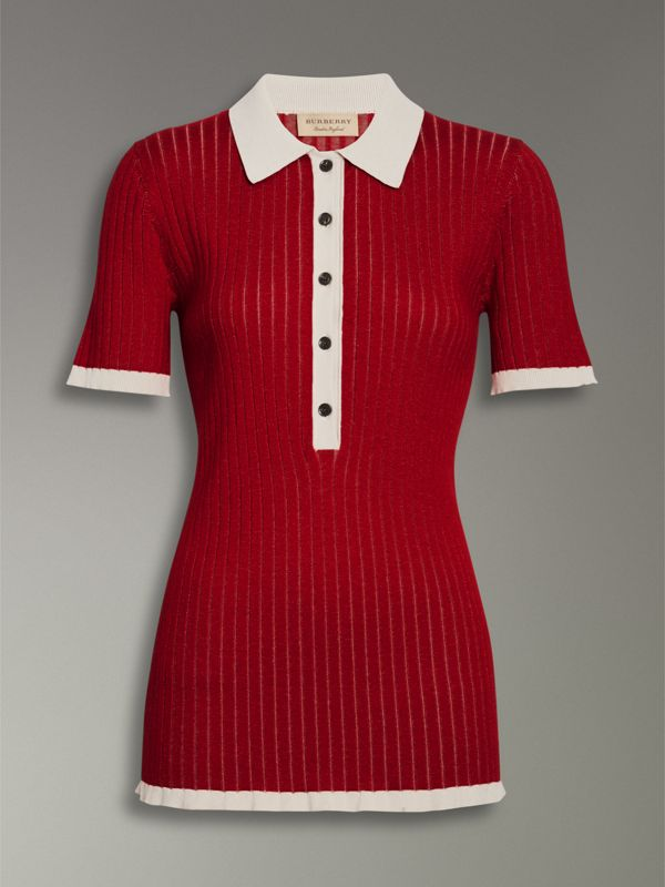 Two-tone Cashmere Silk Polo Shirt in Military Red - Women | Burberry - cell image 3