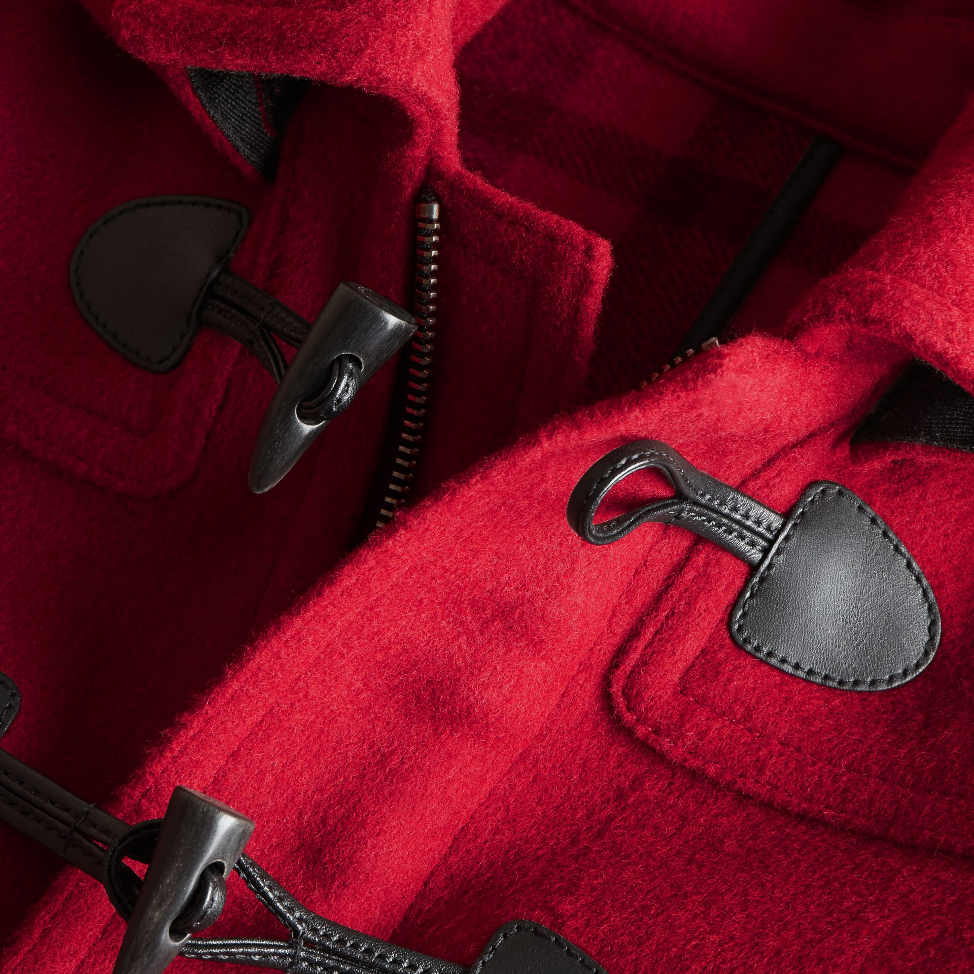 Hooded Wool Duffle Coat in Parade Red - Boy | Burberry - gallery image 2