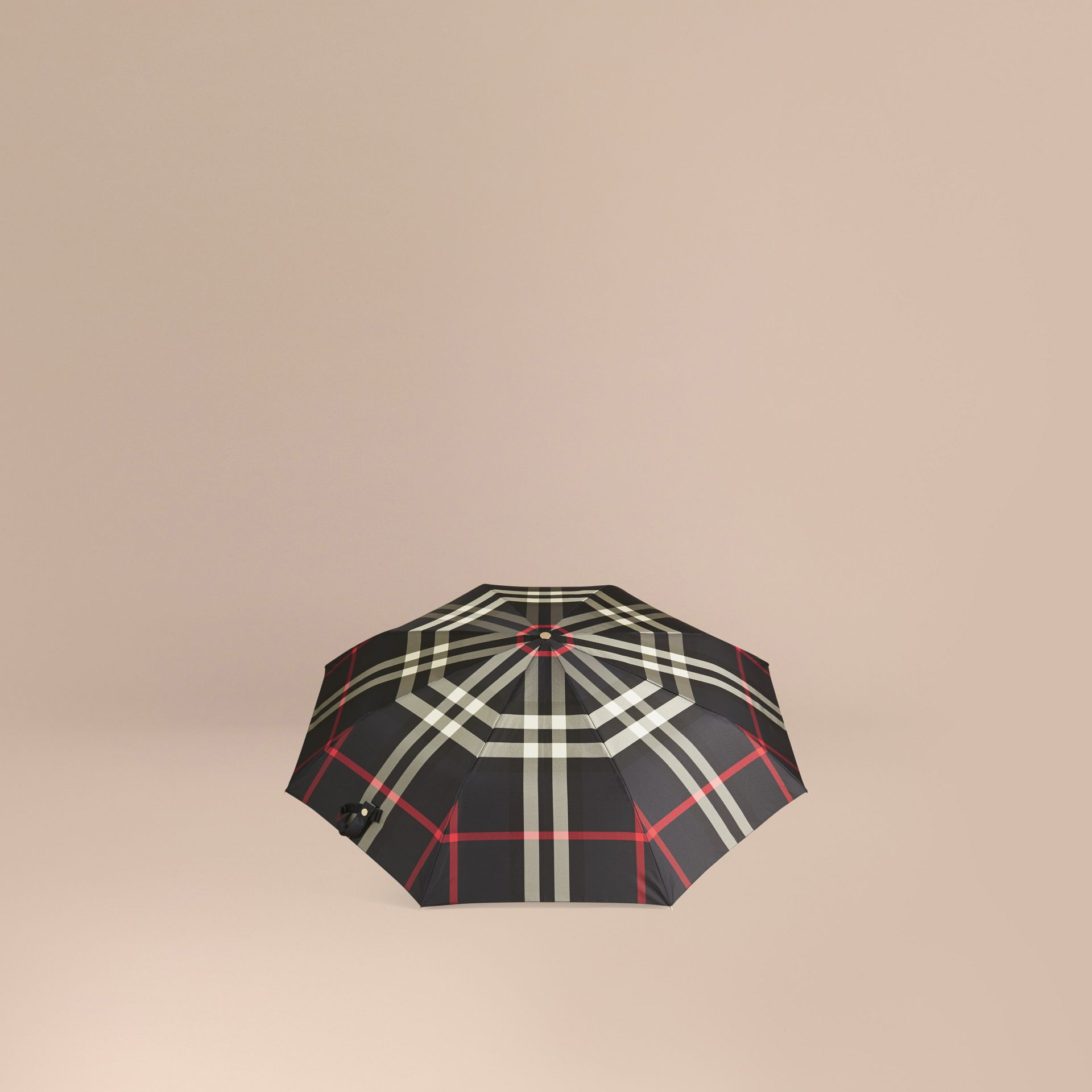 Navy Check Folding Umbrella Navy - gallery image 4