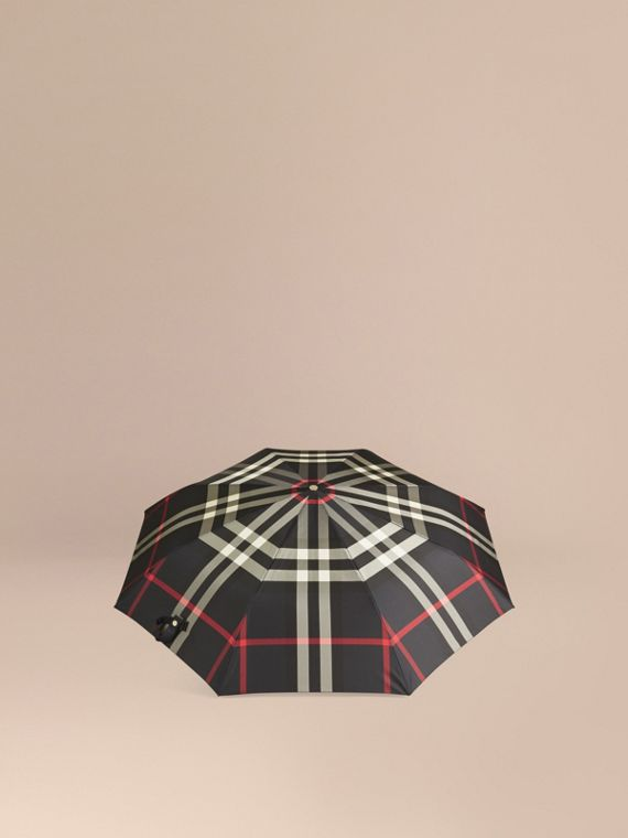 Check Folding Umbrella in Navy | Burberry - cell image 3