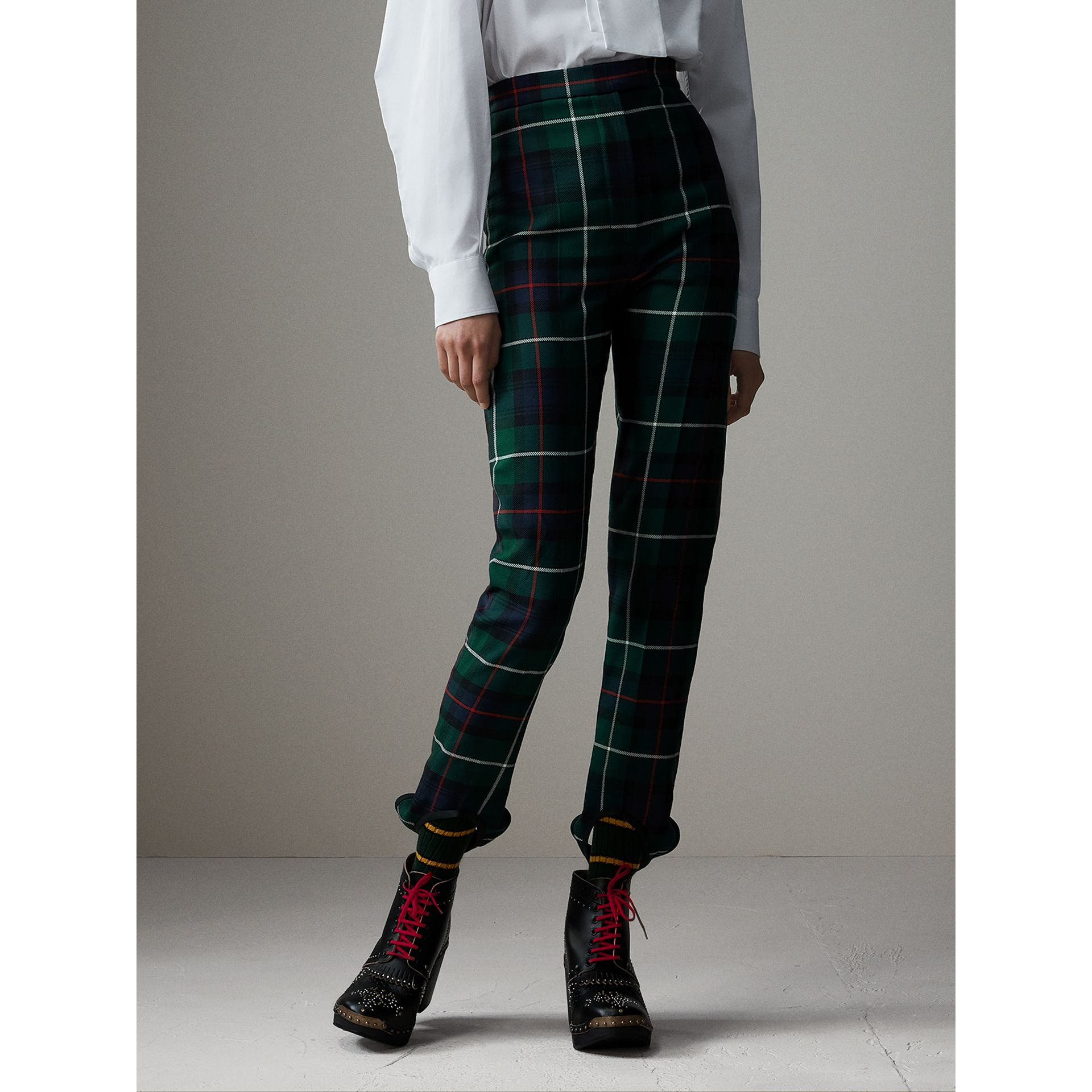 Tartan Wool High-waisted Stirrup Trousers in Forest Green - Women | Burberry - gallery image 6