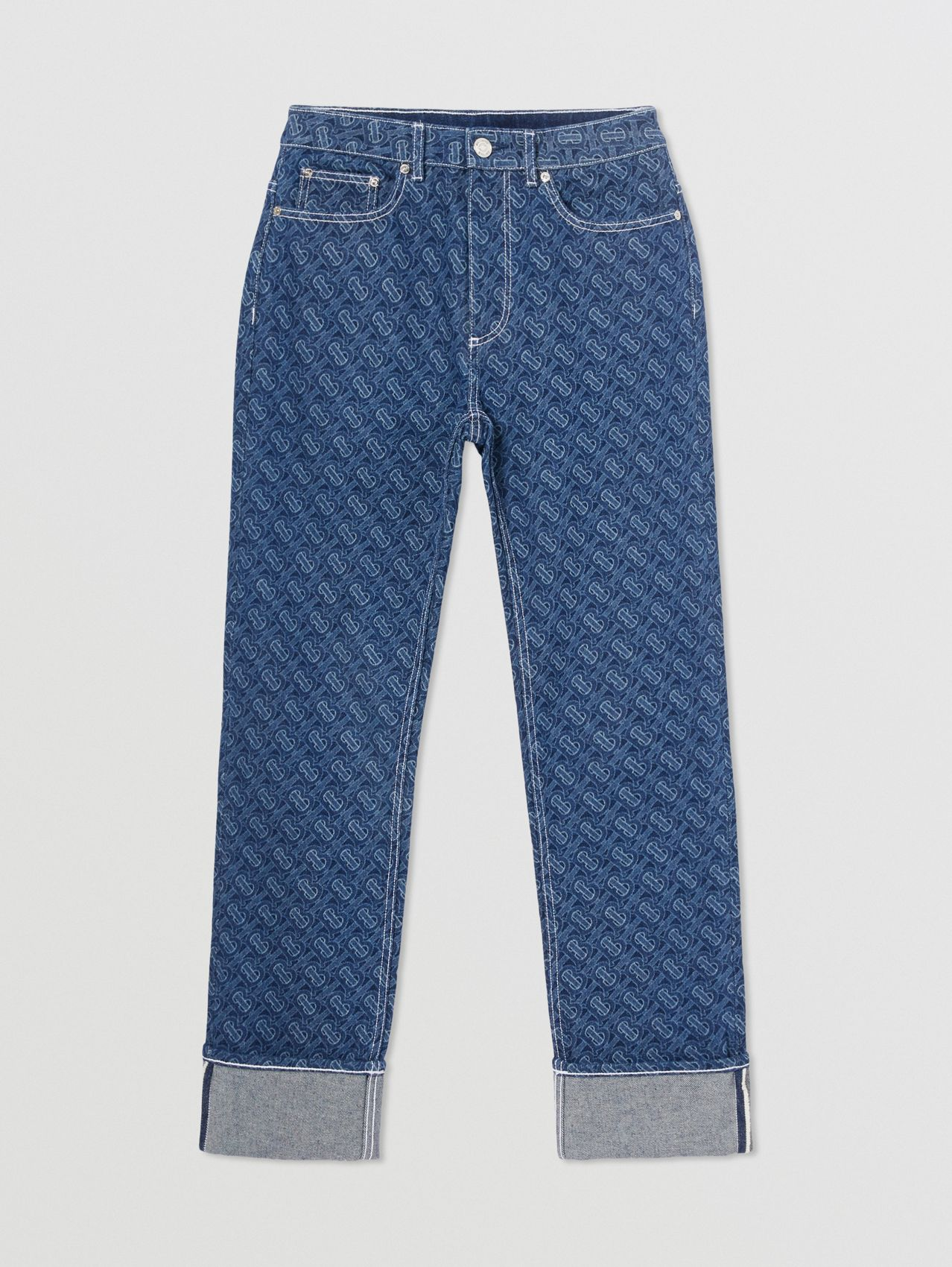 Straight Fit Monogram Print Washed Jeans in Dark Blue