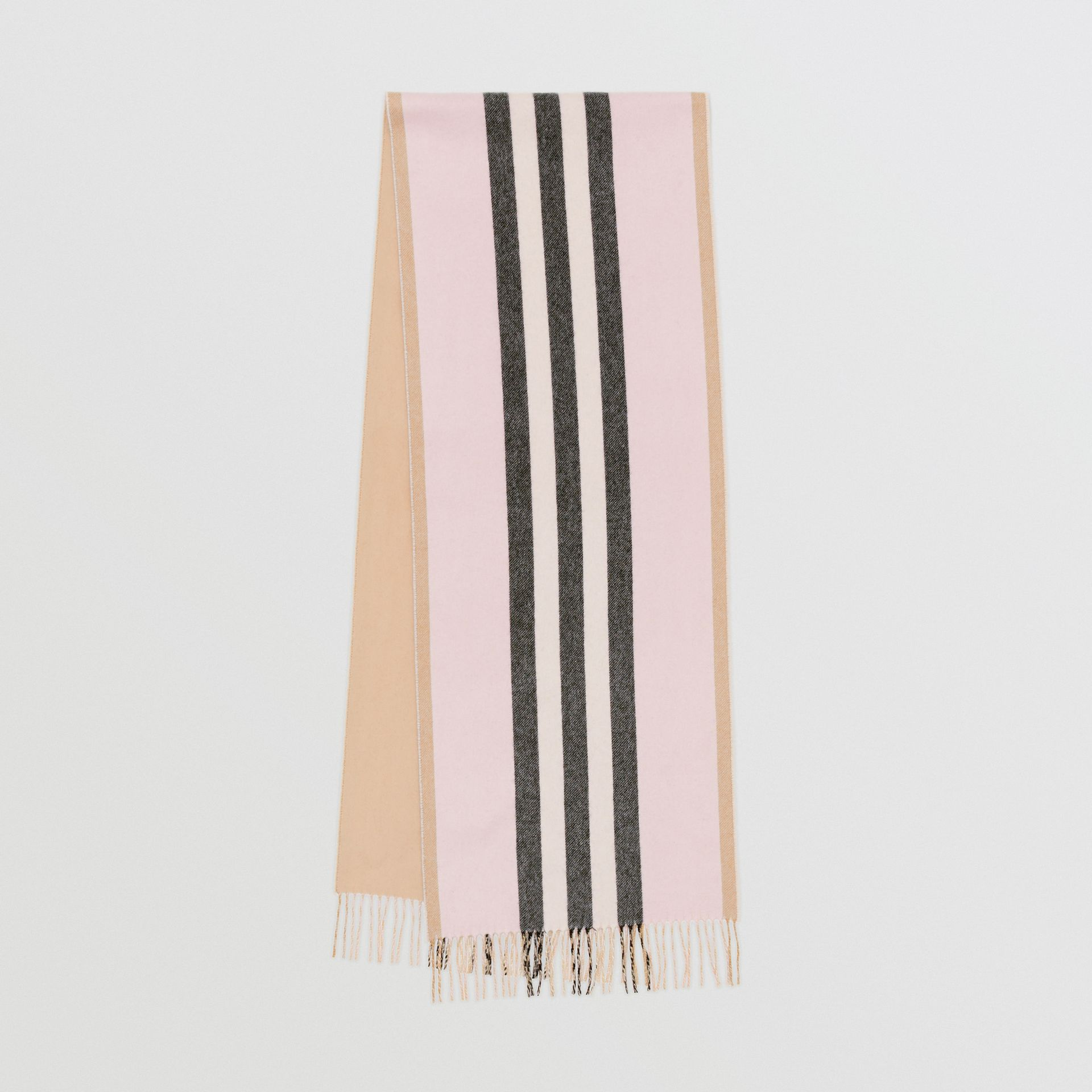 Reversible Icon Stripe Cashmere Scarf in Alabaster | Burberry - gallery image 0