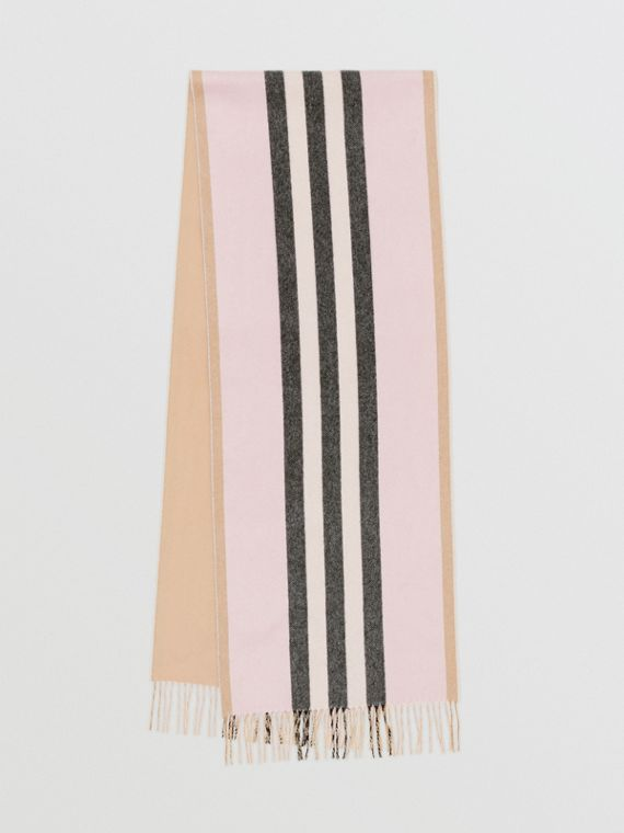 Reversible Icon Stripe Cashmere Scarf in Alabaster