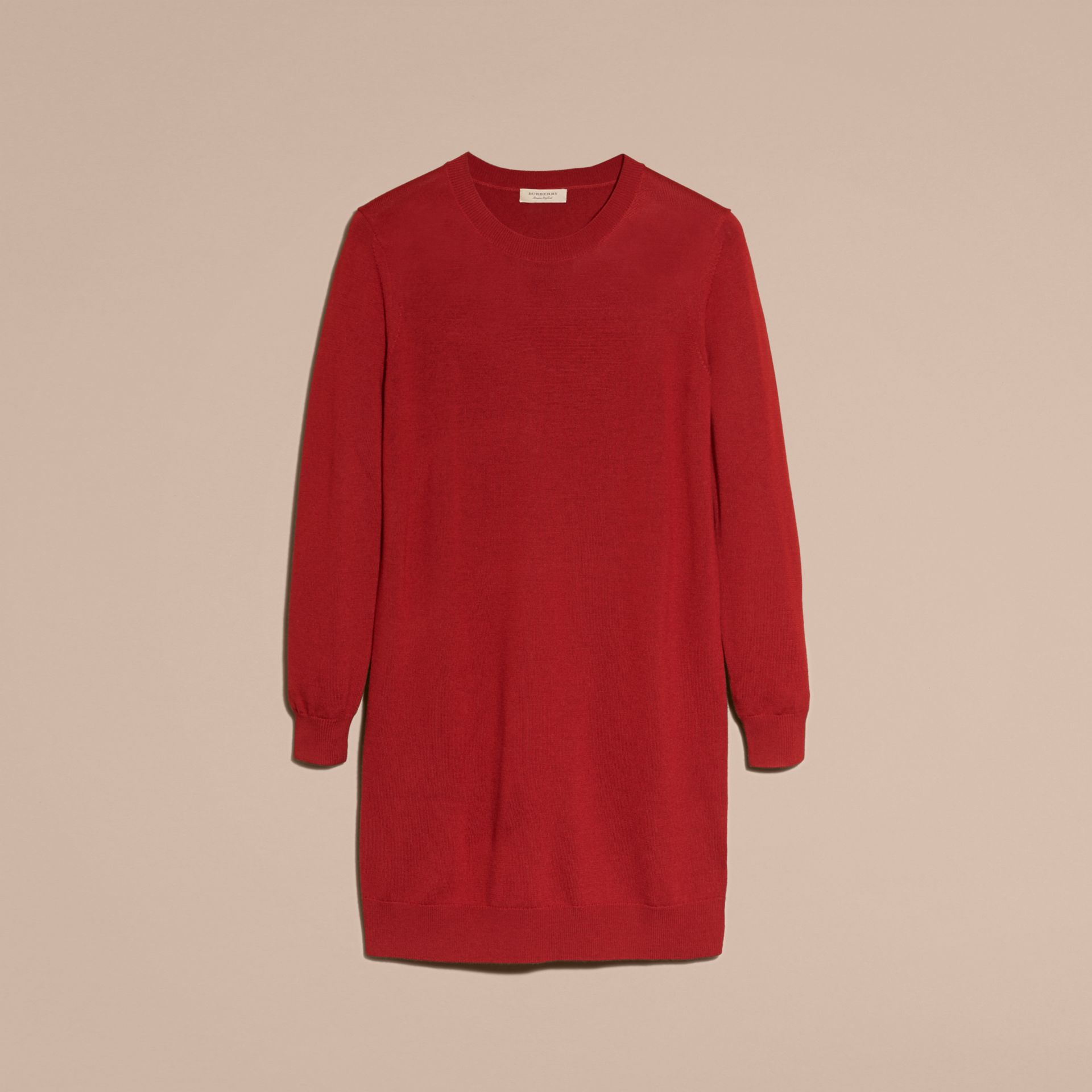Check Elbow Detail Merino Wool Sweater Dress in Parade Red - gallery image 4