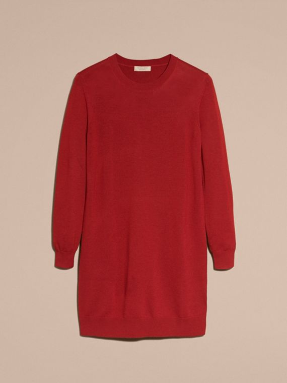 Check Elbow Detail Merino Wool Sweater Dress in Parade Red - cell image 3