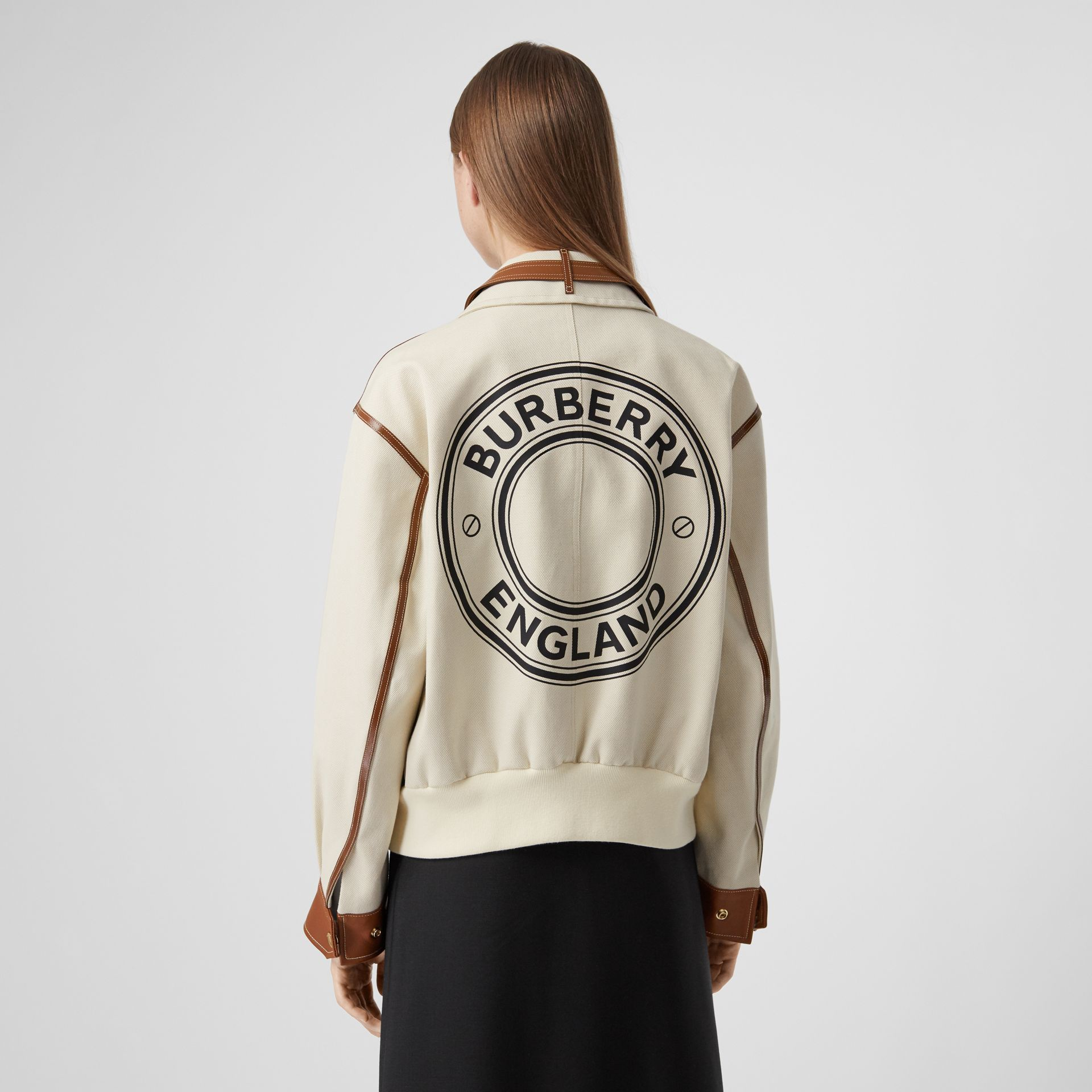 Logo Graphic Cotton Canvas and Lambskin Blouson in Vanilla - Women | Burberry Australia - gallery image 2
