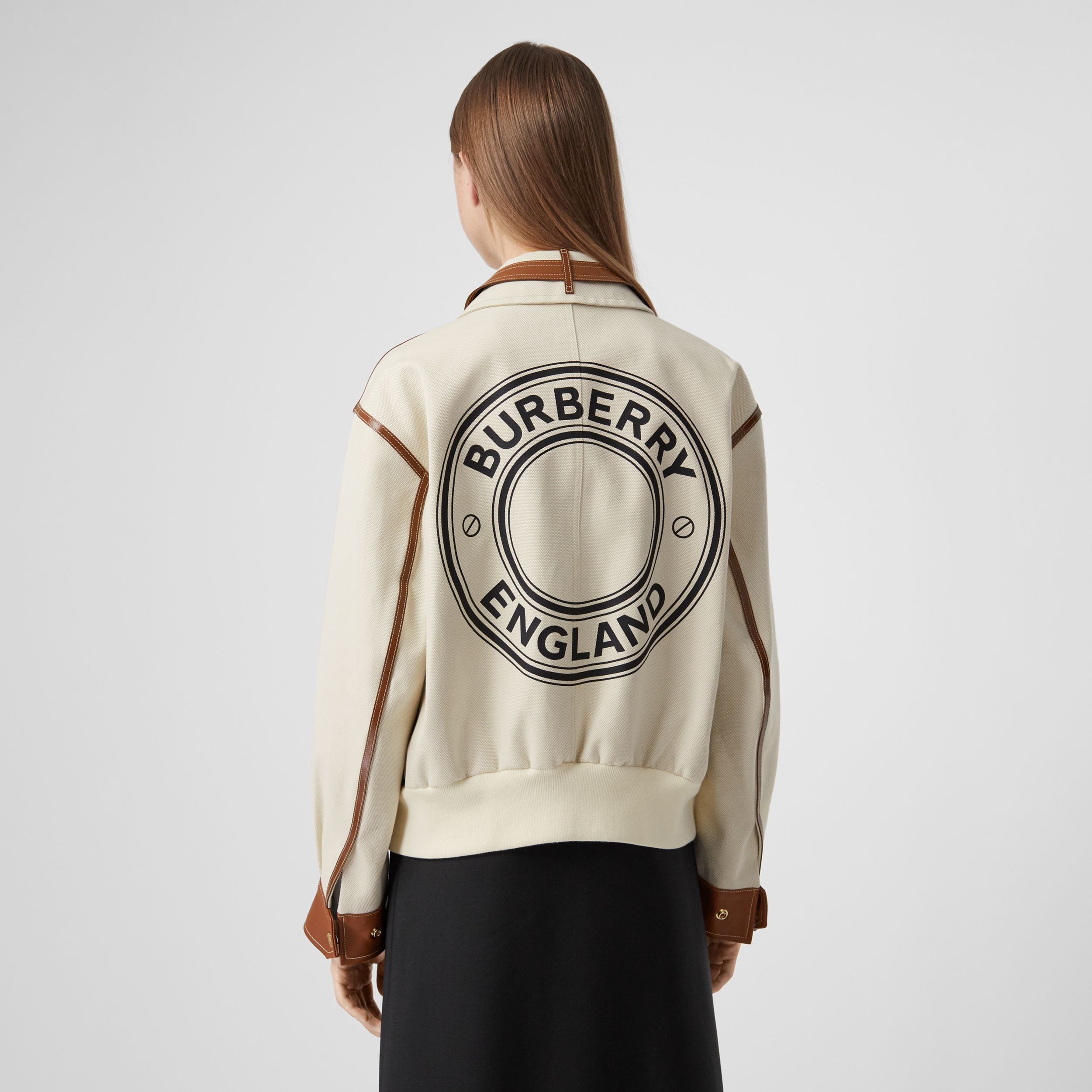 Logo Graphic Cotton Canvas and Lambskin Blouson in Vanilla - Women | Burberry - 3