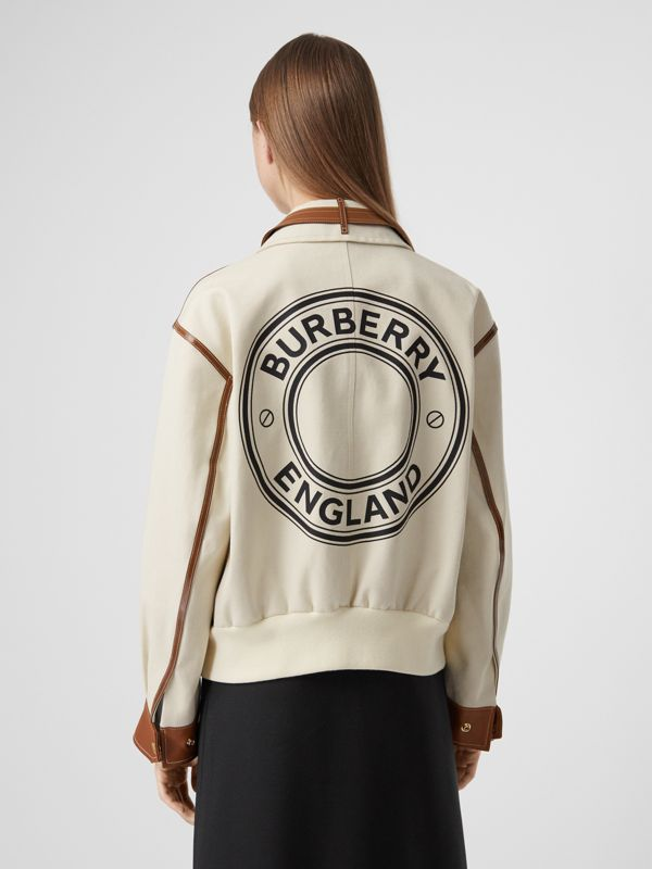 Logo Graphic Cotton Canvas and Lambskin Blouson in Vanilla - Women | Burberry Australia - cell image 2