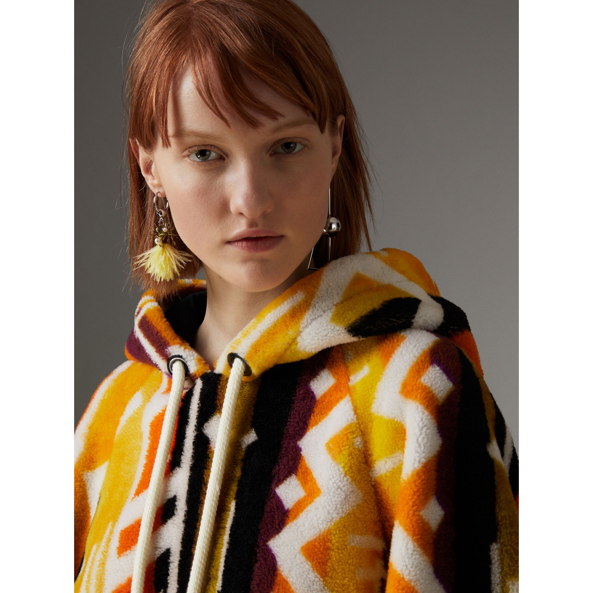 Clash Print Shearling Hoodie in Yellow - Women | Burberry United Kingdom - gallery image 4