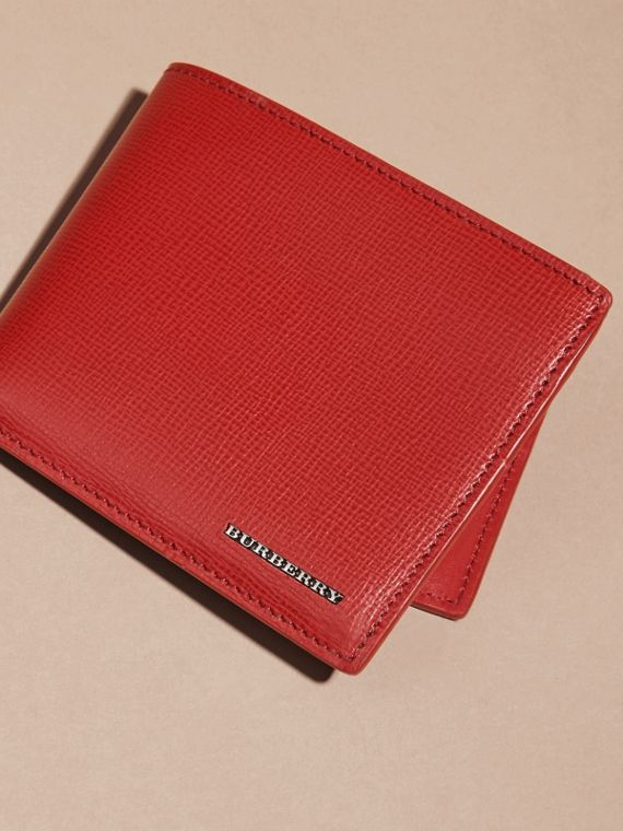 Dark military red London Leather Folding Wallet - cell image 2