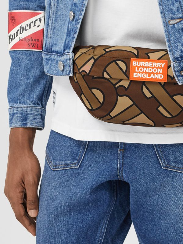 Monogram Print Nylon Sonny Bum Bag in Bridle Brown - Men | Burberry - cell image 3