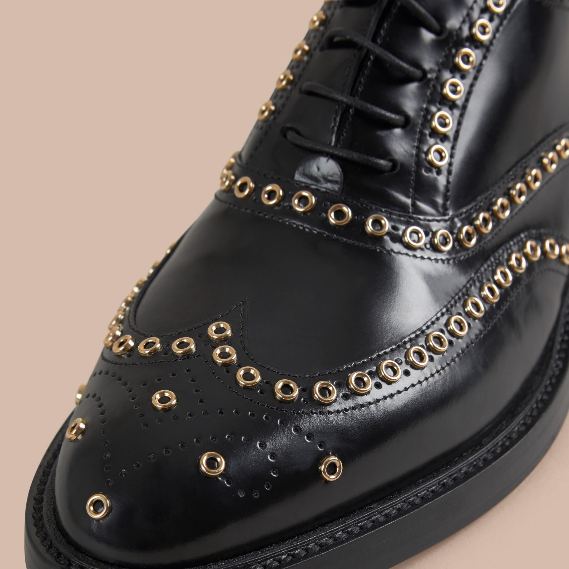 Black Online Exclusive Eyelet Detail Leather Wingtip Brogues - gallery image 2