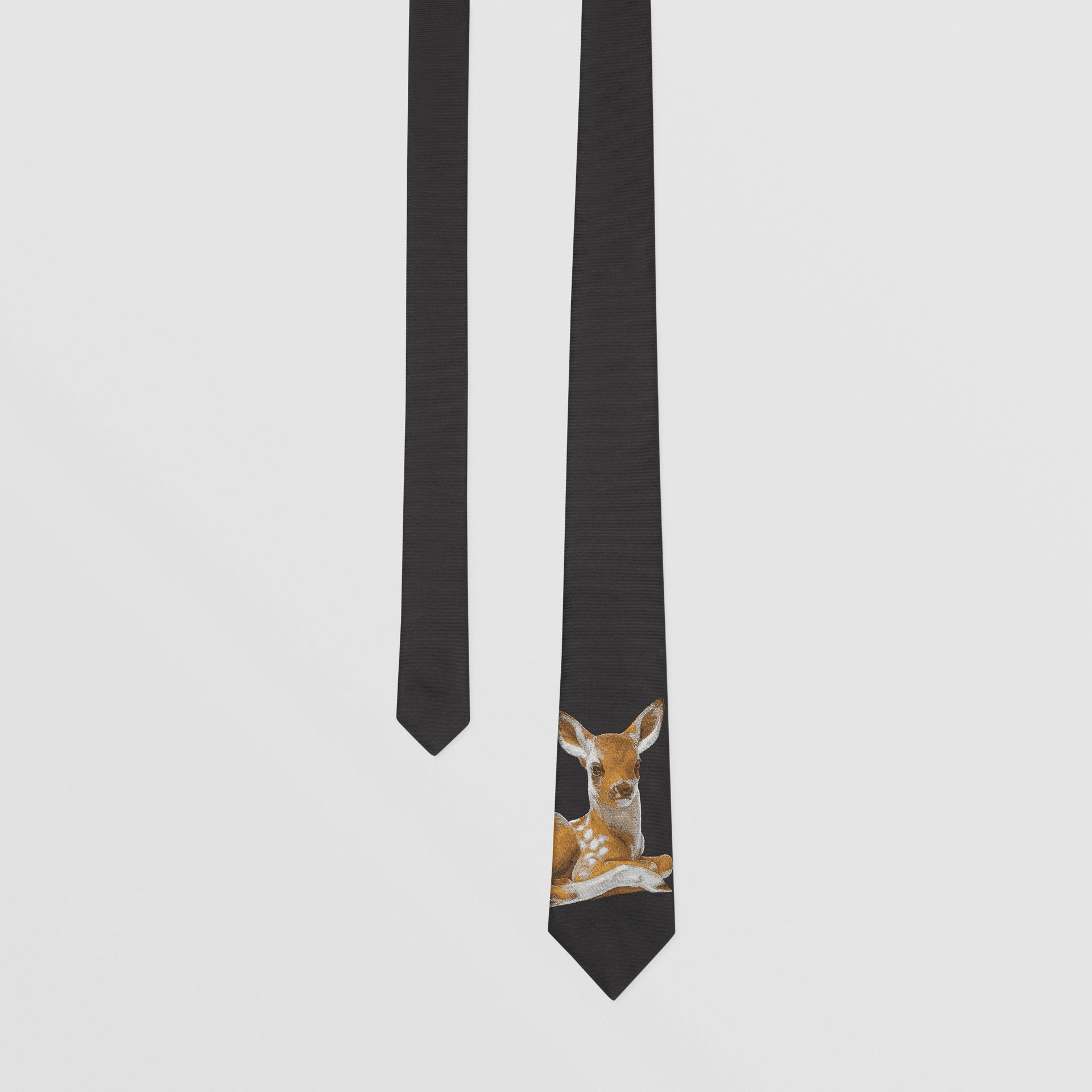 Classic Cut Deer Motif Silk Jacquard Tie in Black - Men | Burberry United States - gallery image 0
