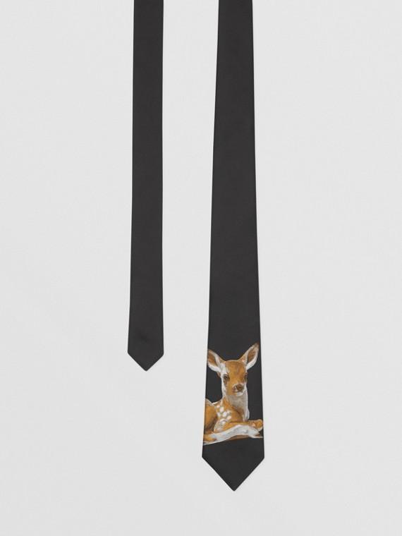 經典剪裁鹿圖案絲質提花領帶 (黑色)
