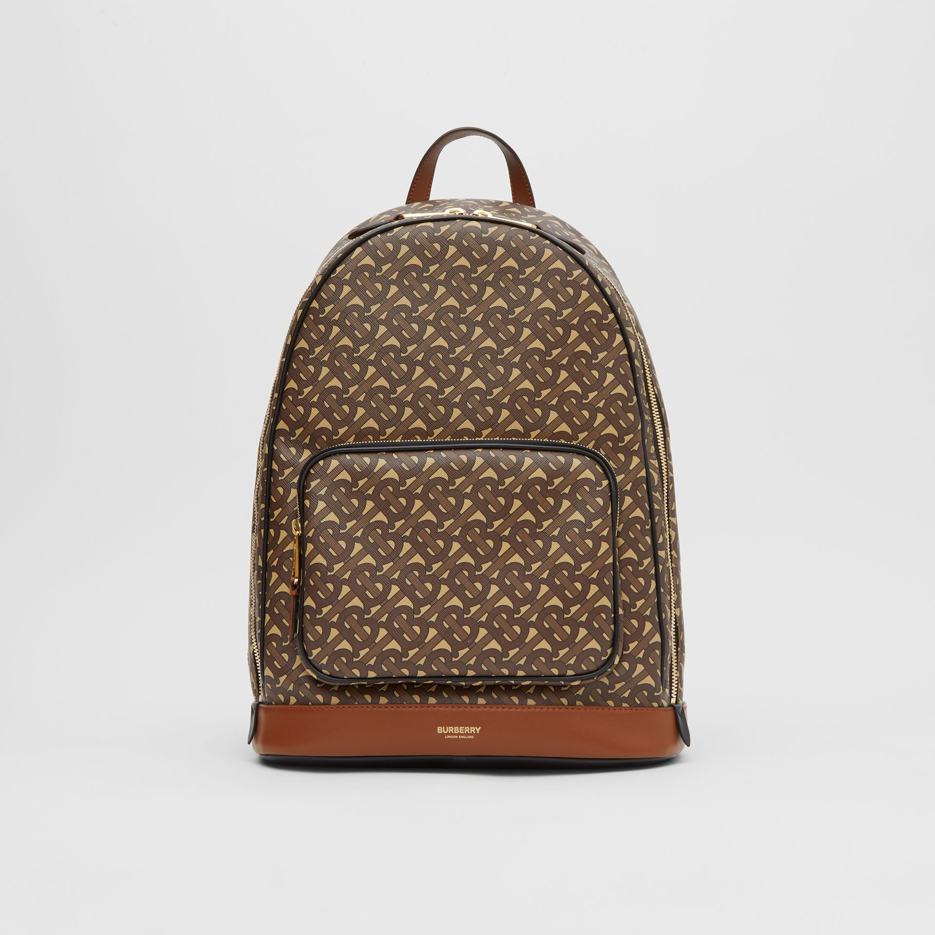 Monogram Print E-canvas and Leather Backpack in Bridle Brown - Men | Burberry United Kingdom - gallery image 0
