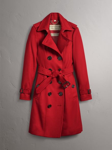 Sandringham Fit Cashmere Trench Coat in Parade Red - Women | Burberry
