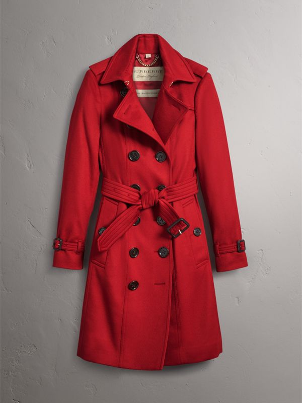 Sandringham Fit Cashmere Trench Coat in Parade Red - Women | Burberry - cell image 3