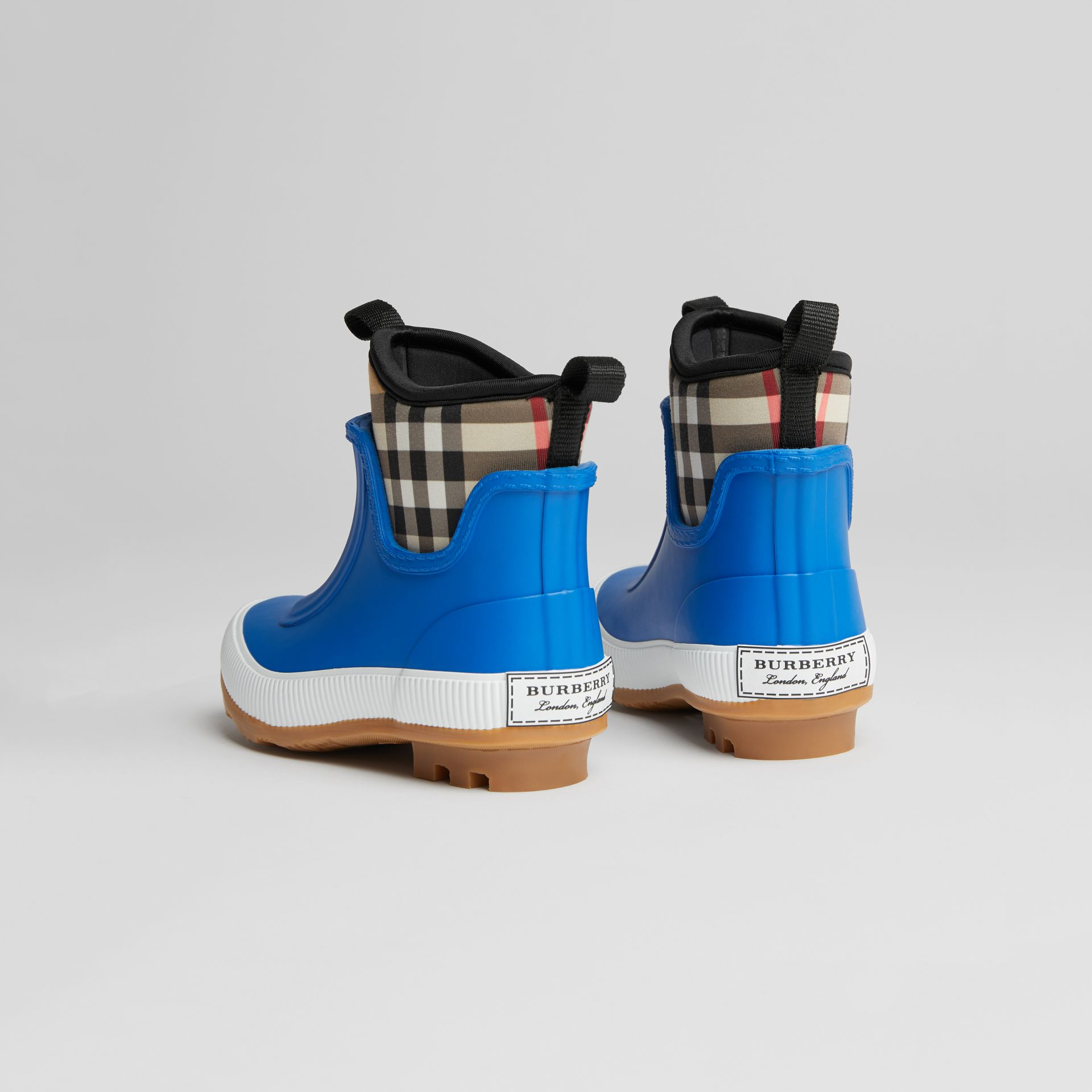 Vintage Check Neoprene and Rubber Rain Boots in Bright Canvas Blue | Burberry United Kingdom - gallery image 2