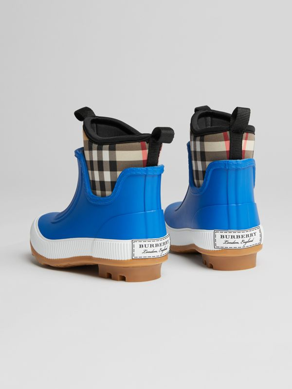 Vintage Check Neoprene and Rubber Rain Boots in Bright Canvas Blue | Burberry - cell image 2