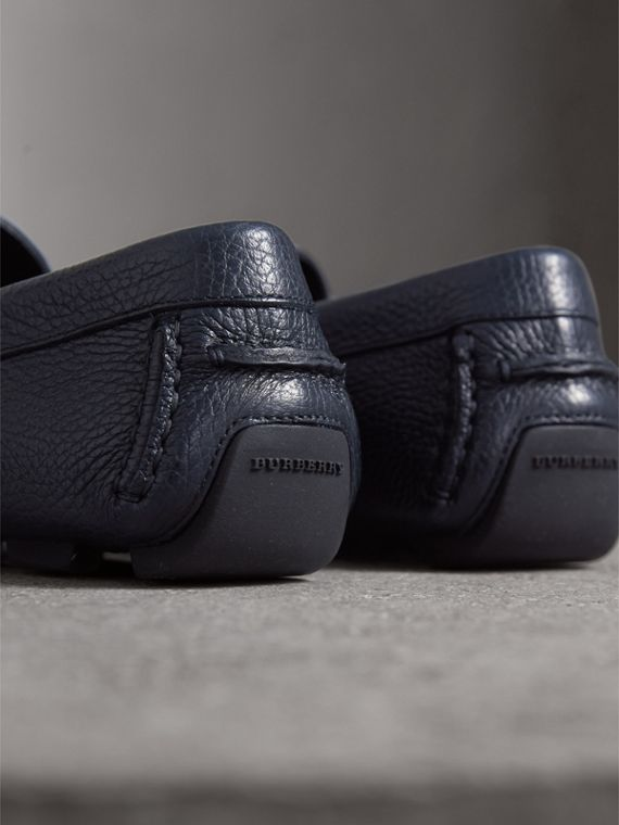 Grainy Leather Loafers with Engraved Check Detail in Navy - Men | Burberry - cell image 2