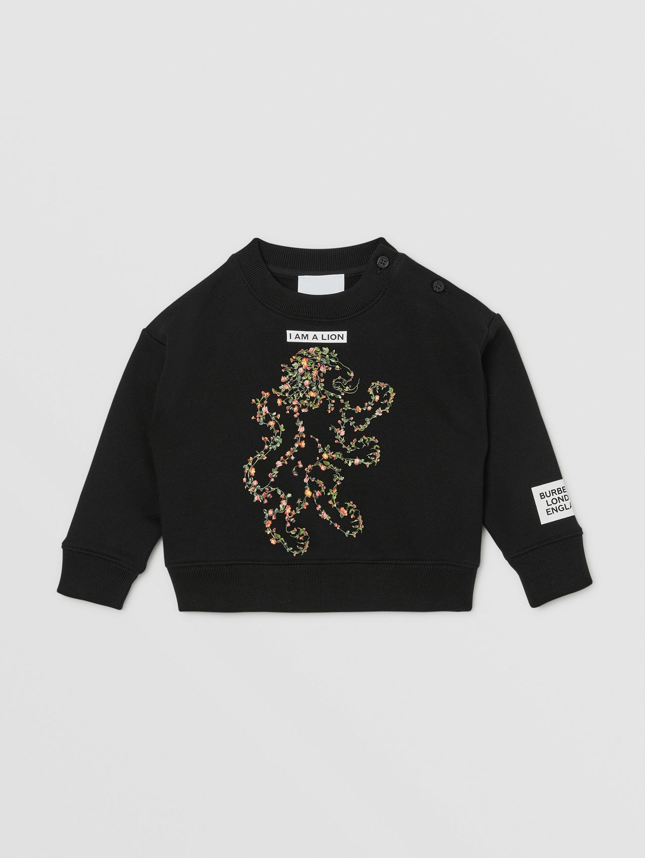 Montage Print Cotton Sweatshirt in Black