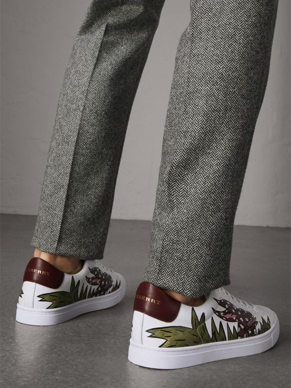 Beasts Print Leather Trainers in Optic White - Men | Burberry - cell image 2