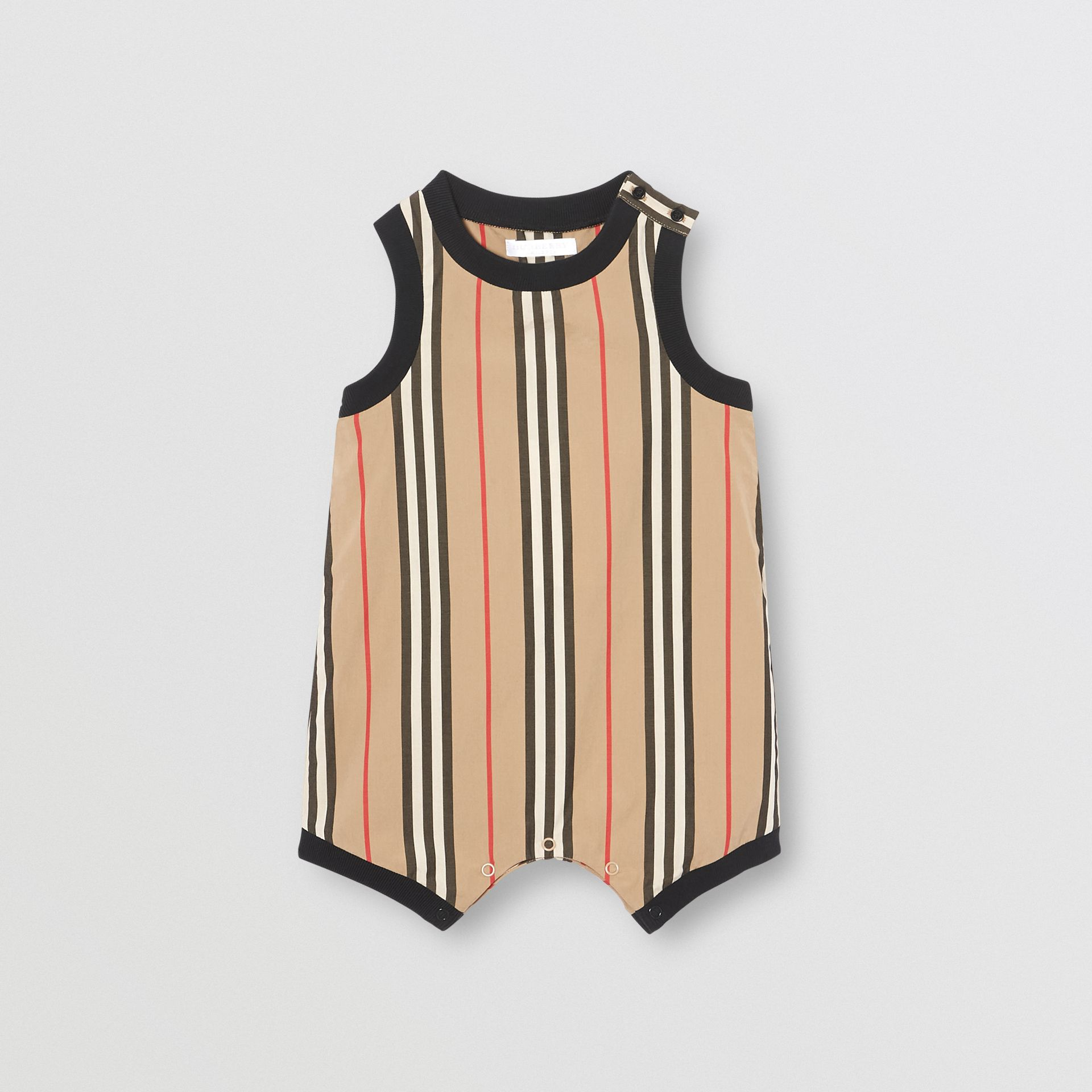 Icon Stripe Cotton Bodysuit in Archive Beige - Children | Burberry - gallery image 0