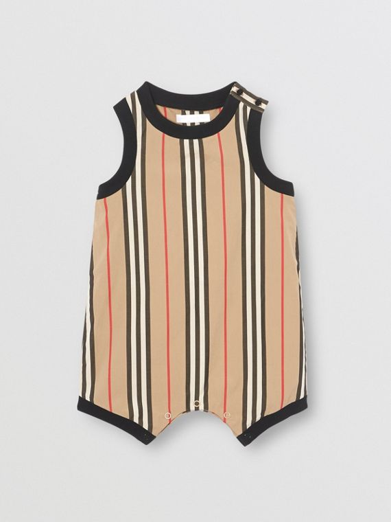 Icon Stripe Cotton Bodysuit in Archive Beige