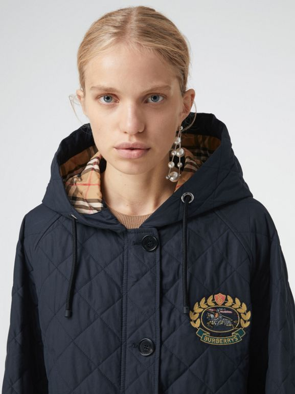 Lightweight Diamond Quilted Hooded Parka in Navy - Women | Burberry - cell image 1