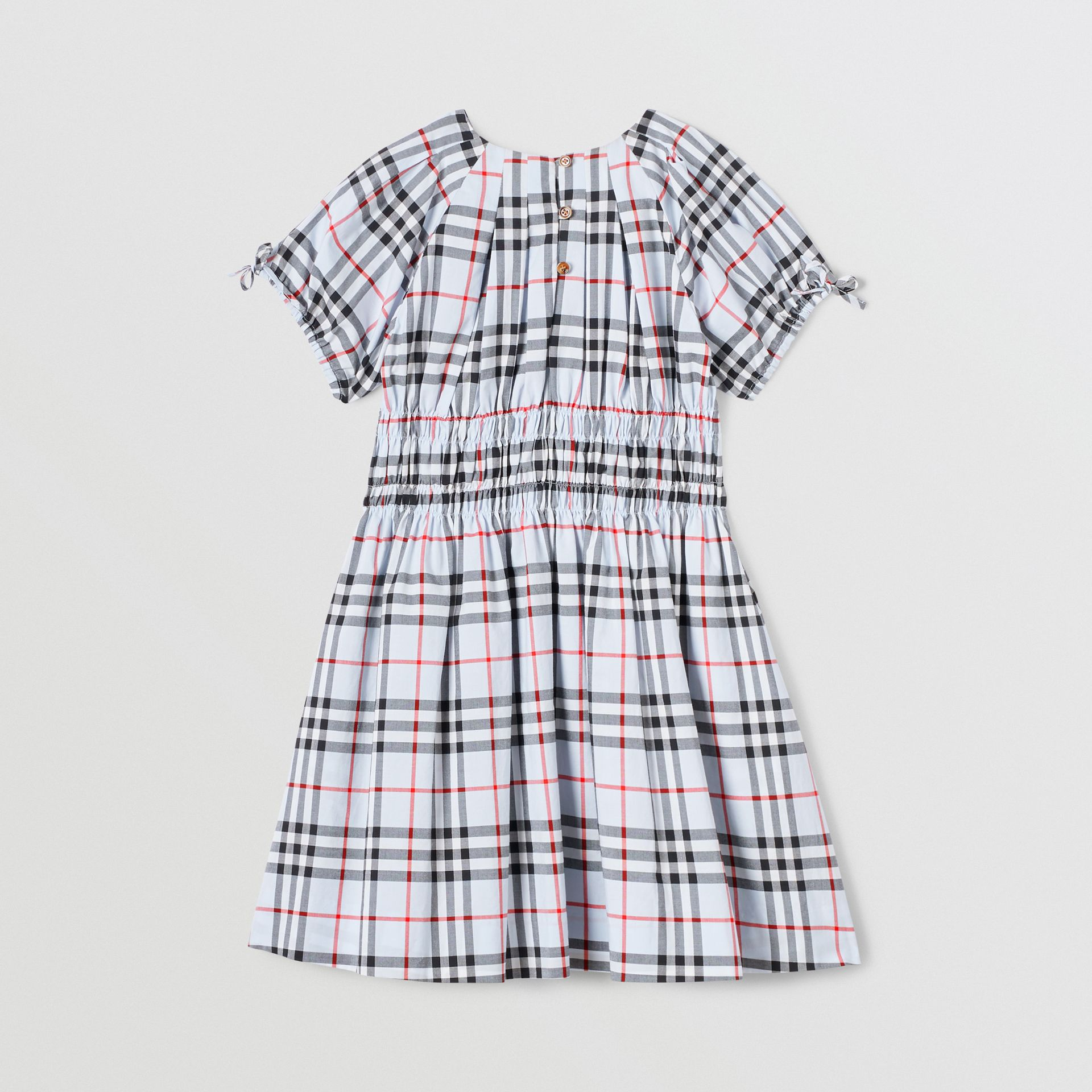 Ruched Panel Vintage Check Cotton Dress in Pale Blue | Burberry - gallery image 3