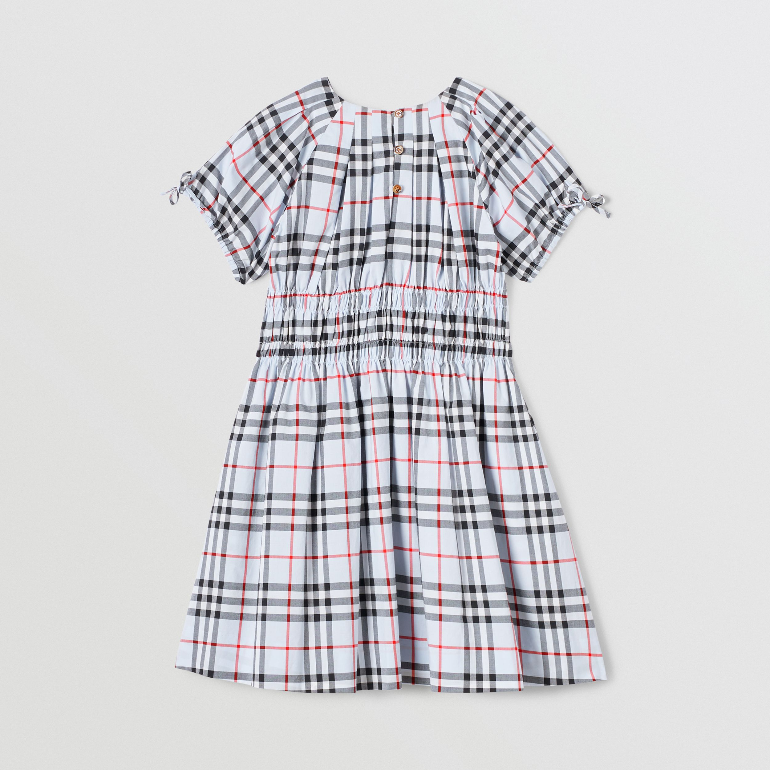 Ruched Panel Vintage Check Cotton Dress in Pale Blue | Burberry Australia - 4