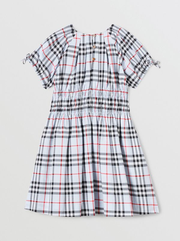 Ruched Panel Vintage Check Cotton Dress in Pale Blue | Burberry - cell image 3