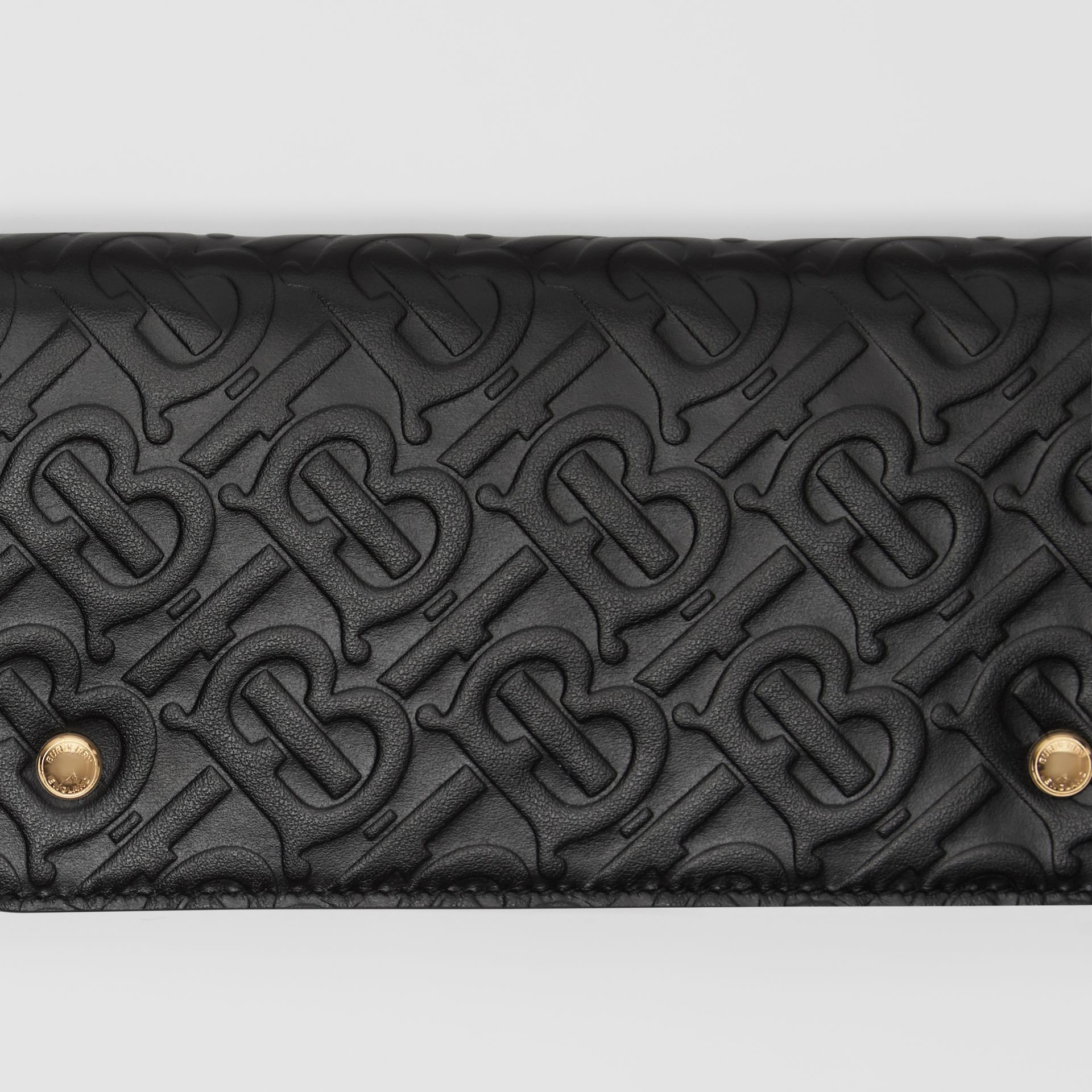 Monogram Leather Phone Wallet in Black - Women | Burberry - gallery image 1