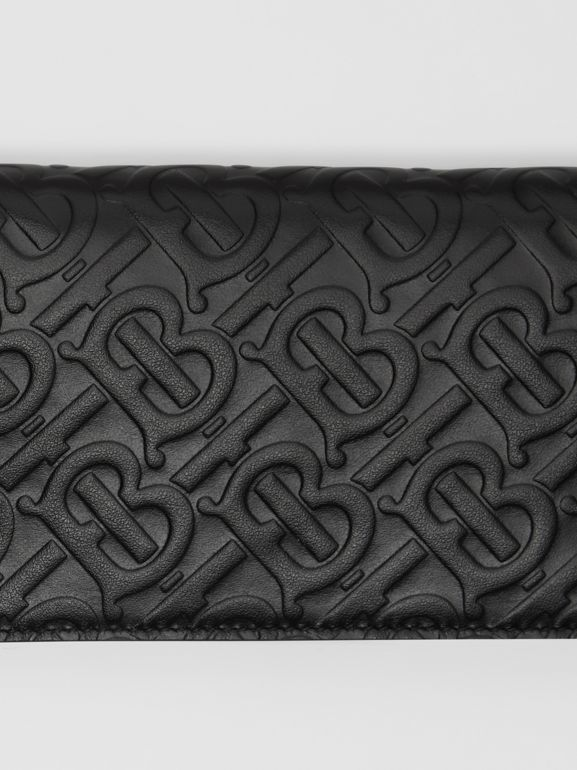 Monogram Leather Phone Wallet in Black | Burberry United Kingdom - cell image 1