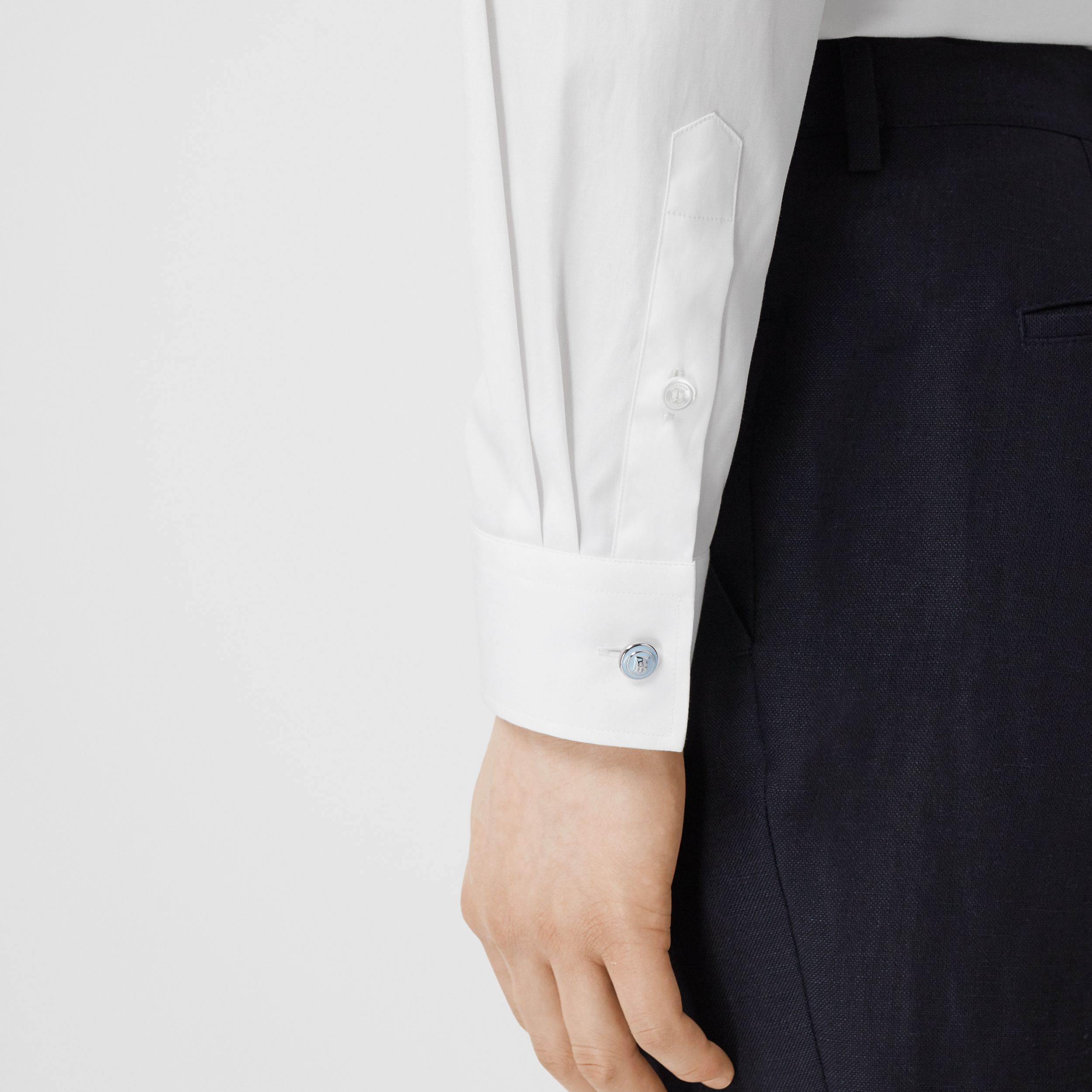 Slim Fit Stretch Cotton Poplin Shirt in White - Men | Burberry Canada - 2