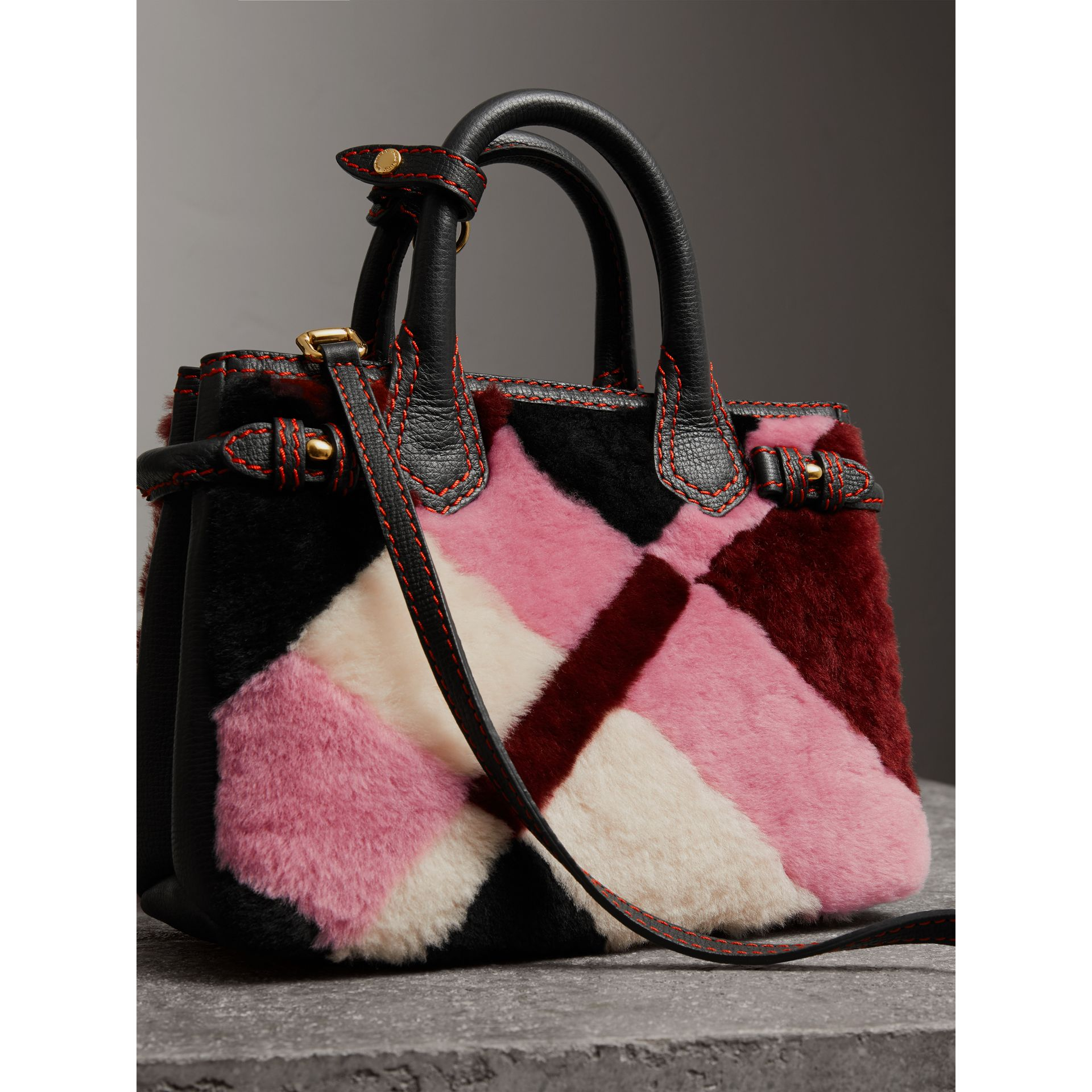 The Baby Banner in Patchwork Check Shearling and Leather in Pink - Women | Burberry United Kingdom - gallery image 3