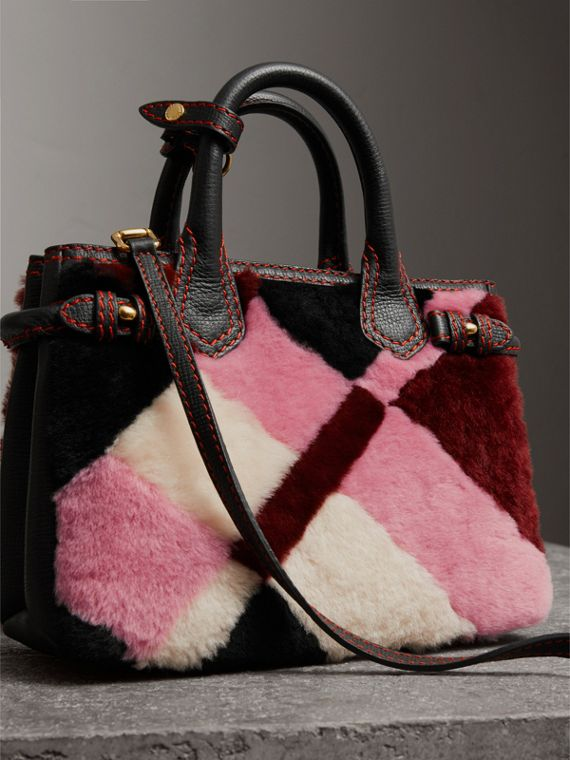 Sac The Baby Banner en cuir et shearling en patchwork façon check (Rose) - Femme | Burberry - cell image 3
