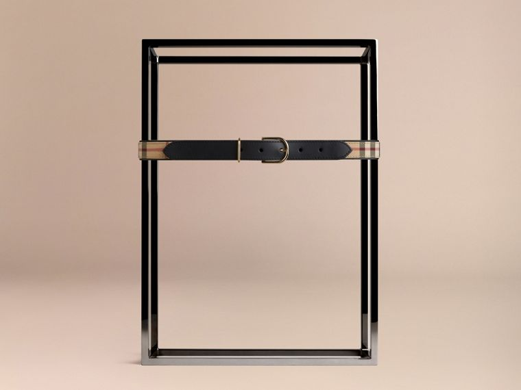 Horseferry Check and Leather Belt in Honey/black - Women | Burberry Singapore - cell image 1