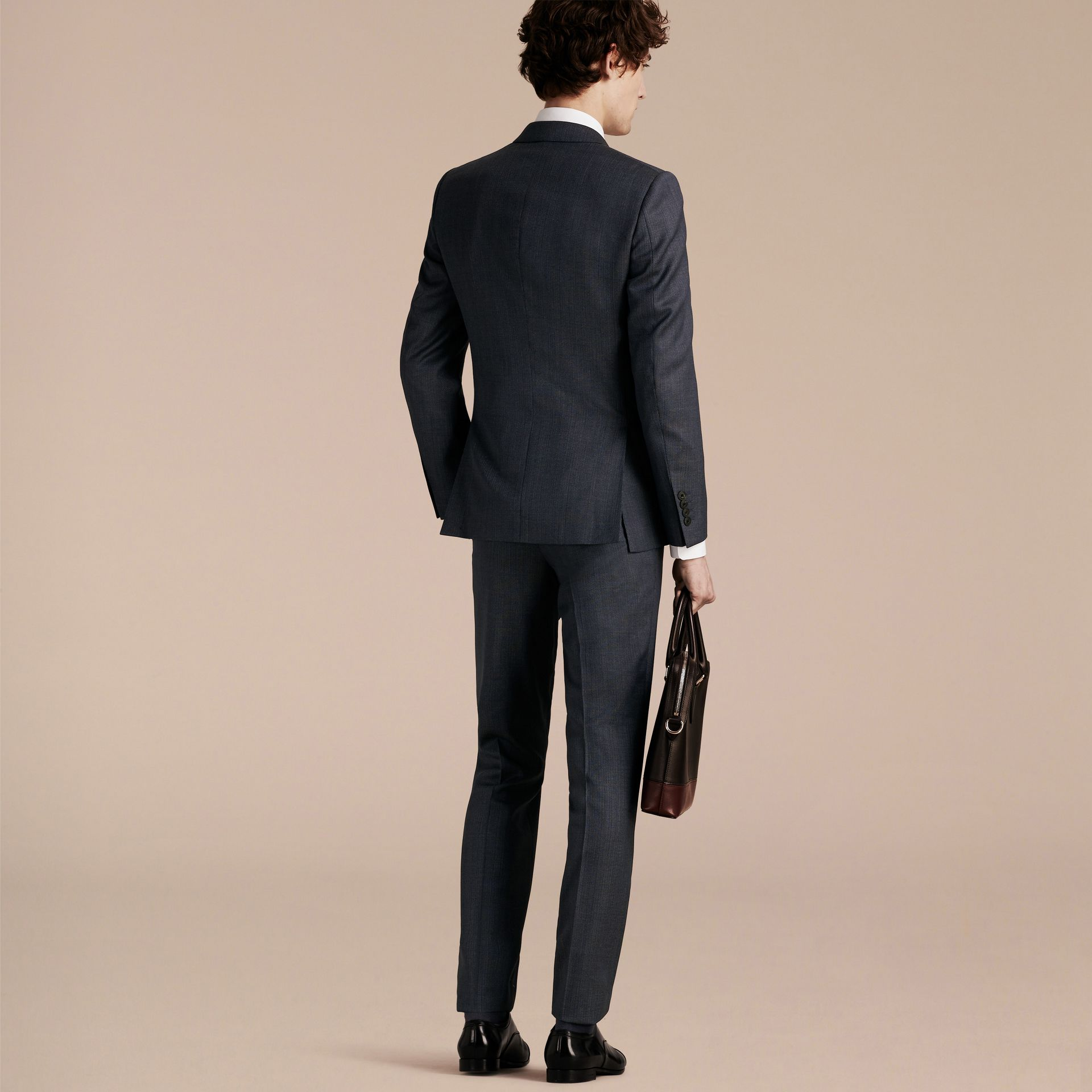 Steel blue Slim Fit Half-canvas Birdseye Wool Suit - gallery image 2