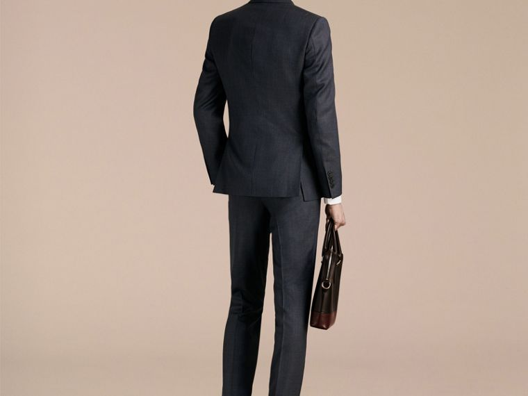 Steel blue Slim Fit Half-canvas Birdseye Wool Suit - cell image 1