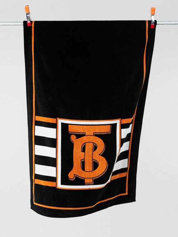 Monogram and Icon Stripe Print Cotton Towel in Black