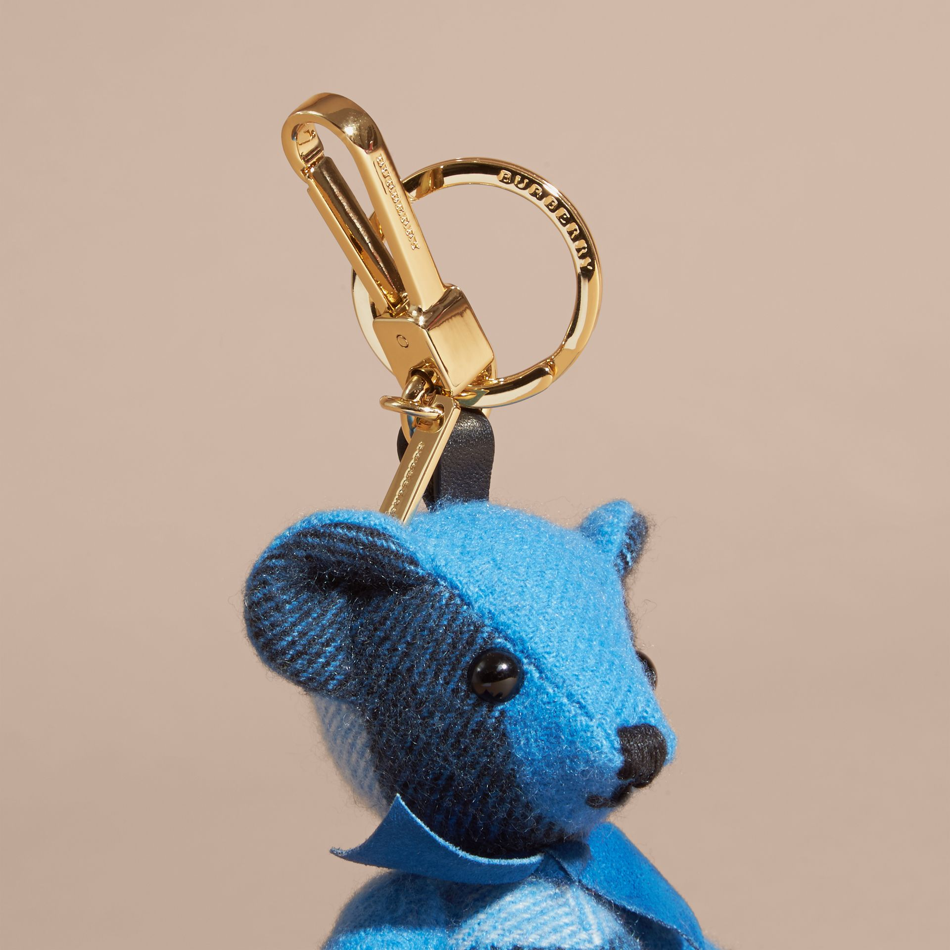 Thomas Bear Charm in Check Cashmere in Bright Cornflower Blue | Burberry - gallery image 2