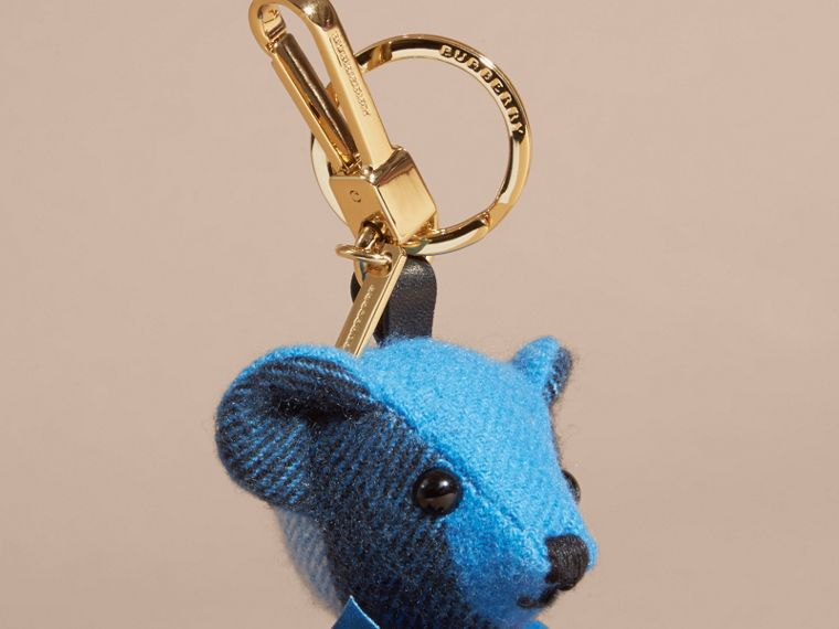Thomas Bear Charm in Check Cashmere in Bright Cornflower Blue | Burberry - cell image 1