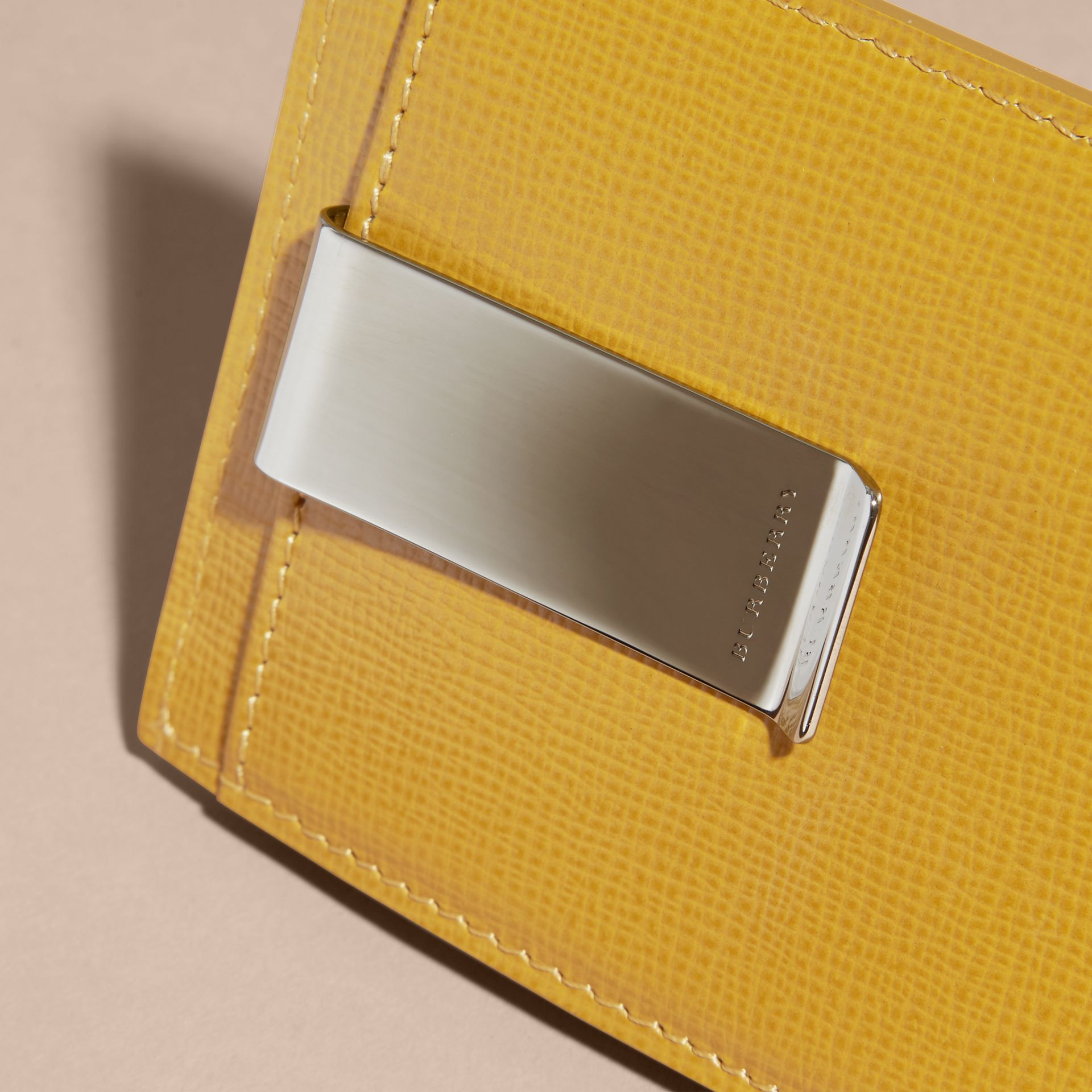 London Leather Money Clip Card Case Larch Yellow - gallery image 2