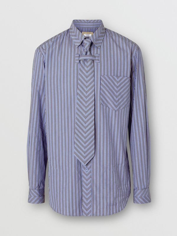 Chevron Striped Cotton Shirt and Tie Twinset in Pale Blue | Burberry - cell image 3